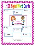 108 Sight Word Cards Kindergarten & First Grade CCSS
