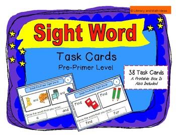 Sight Word Task Cards (Pre-Primer Level)