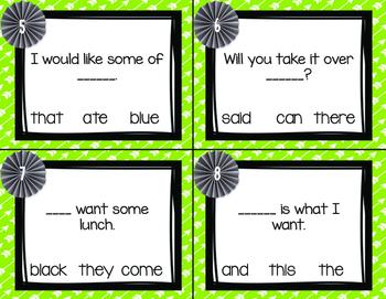 Sight Word Task Cards Primer