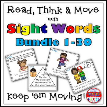 Sight Word Activities - Read Think and Move Task Card BUNDLE 1-30