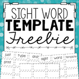 Sight Word Template