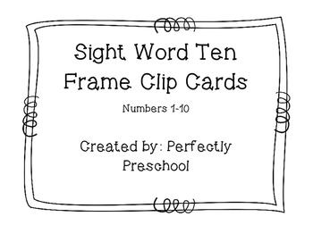 Sight Word Ten Frame Clip Cards
