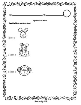 Sight Word Test BUNDLE for the ENTIRE school year.