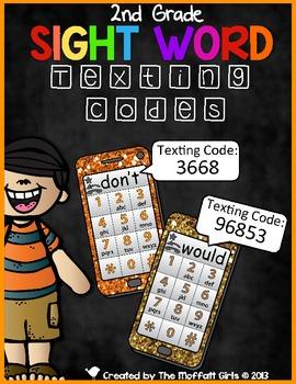 Sight Word Texting Codes (2nd Grade)