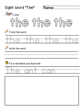 "Sight Word ""The"" Practice Worksheet"