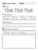"""Sight Word """"The"""" Practice Worksheet"""