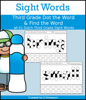 Sight Word Third Grade Dot the Word & Find the Word