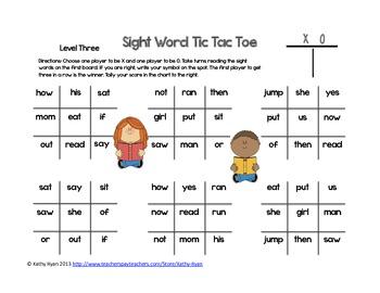 Sight Word Tic Tac Toe