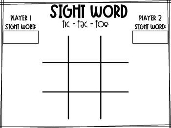 Sight Word Tic - Tac - Toe