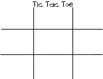 Sight Word Tic Tac Toe Board