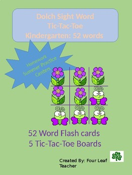 Sight Word Tic-Tac-Toe Dolch kinder 52