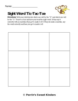 Sight Word Tic-Tac-Toe EDITABLE