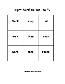 Sight Word Tic Tac Toe First Grade Edition