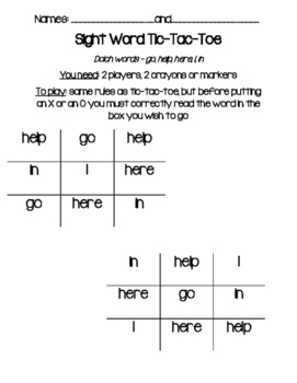 Sight Word Tic-Tac-Toe Pre-Primer Dolch Sight Words