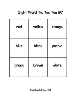 Sight Word Tic Tac Toe Pre-Primer Edition