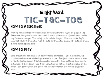 Sight Word TicTacToe List 1 (Fry's First 20) Game\Center
