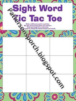 Sight Word Tic Tac Toe board game