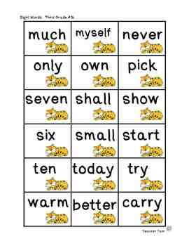 Sight Word Tic-Tac-Toe for Preschool, Kindergarten, First, Second, & Third