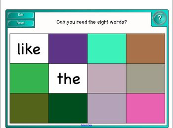 Sight Word Tiles Games for the Smart Board