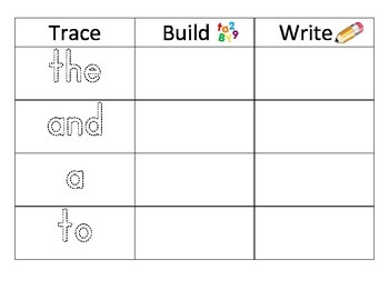 Sight Word Trace, Build, & Write