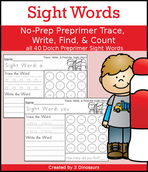 Sight Word Trace, Write, Find & Count Bundle