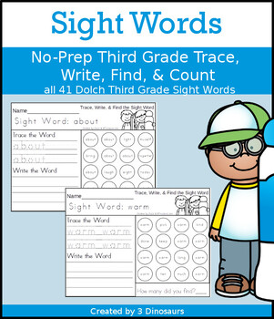 Sight Word Trace, Write, Find & Count: Third Grade