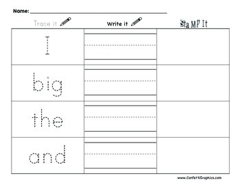 Sight Word Trace Write Stamp it!  Dolch Pre Primer Work On Words Pre k - 1