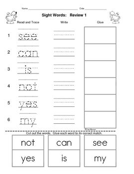 Sight Word Trace, Write and Glue