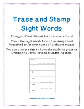 Sight Word Trace and Stamp!