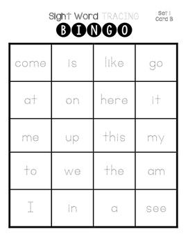 Sight Word Tracing Bingo
