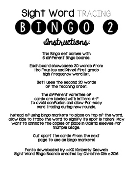 Sight Word Tracing Bingo ~ set 2