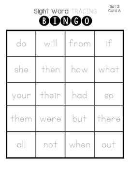 Sight Word Tracing Bingo ~ set 3
