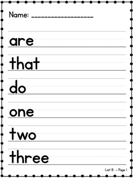 Sight Word Tracing: High Frequency Lists A-F