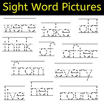 Sight Word Tracing Pictures for Grades Pre-K - Grade 3