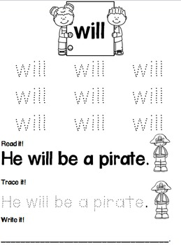 Sight Word Tracing Practice Level C