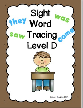 Sight Word Tracing Practice Level D