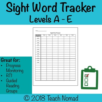 Sight Word Tracker Levels A, B, C, D, E for Guiding Reading