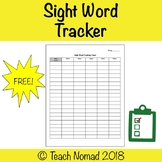 Sight Word Tracking Chart for Guided Reading/Intervention Groups