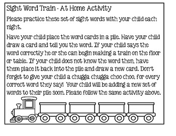 Sight Word Train - At Home Activity