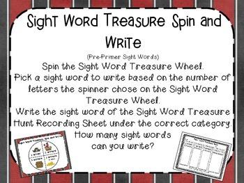 Sight Word Treasure Hunt (PrePrimer)