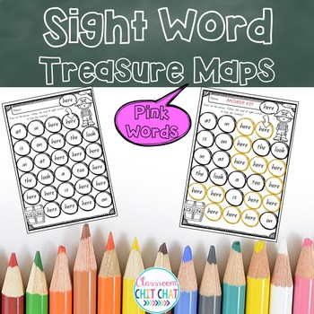 Sight Word Treasure Maps - Pink Words