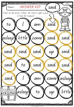 Sight Word Treasure Maps - Red Words