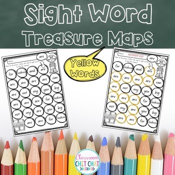 Sight Word Treasure Maps - Yellow Words
