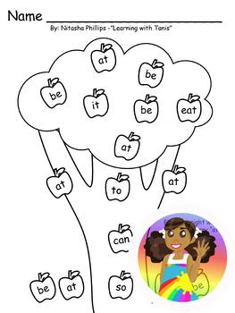 Sight Word Tree: at, be