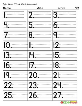 Sight Word / Trick Word Assessment Template
