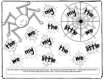 Halloween Sight Word Games Kindergarten