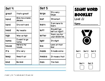 Sight Word Trifold Booklets Level 2