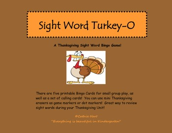 Sight Word Turkey-O   A Thanksgiving Sight Word Bingo Game