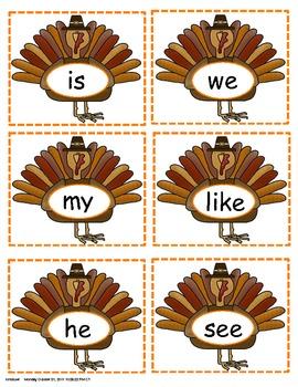 Sight Word Turkeys Literacy Work