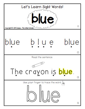 Teach Me Sight Words: BLUE [Interactive Center with Printables and Audio]